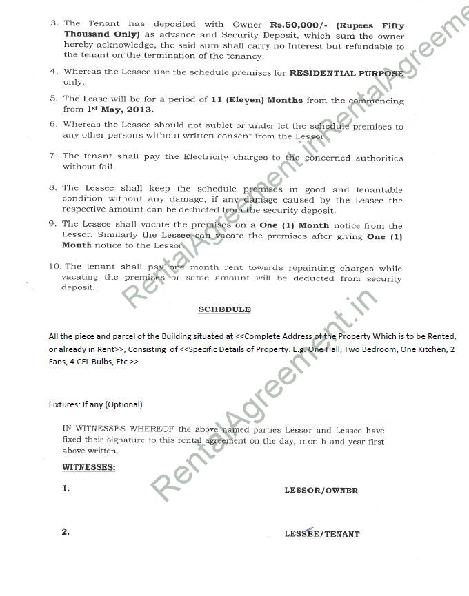 Simple Rental Agreement Letter from www.rentalagreement.in